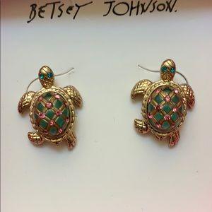 Betsey Johnson turtle pave crystal earrings